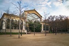 Greenhouse of The Parc de la Ciutadella. In barcelona at sunset in winter stock images