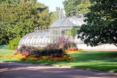 Greenhouse at the tete d`or. Greenhouse in the park tete d`or of Lyon, France Stock Photos