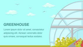 Greenhouse Plants Cultivation Web Banner Template stock illustration