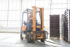 Senior man in forklift by crates at distribution storehouse stock images