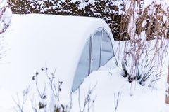 Greenhouse in the snow Stock Images