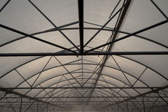 Greenhouse structure of steel and plastic film Royalty Free Stock Images
