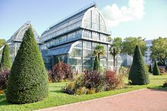 Greenhouse at the tete d`or. Greenhouse in the park tete d`or of Lyon, France Royalty Free Stock Photos