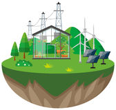 Greenhouse and wind turbines Stock Photos