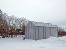 Greenhouse in winter Royalty Free Stock Photo