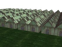 Greenhouses. Illustration of greenhouses on grass Stock Images