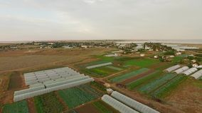 Greenhouses On Agricultural Fields stock footage