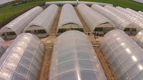 Greenhouses from the air stock video footage