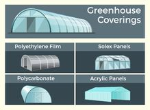 Greenhouses coverings set vector illustration
