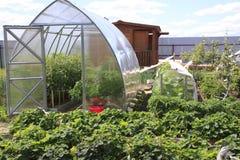 Greenhouses on a garden plot Royalty Free Stock Photo