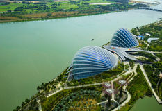 Greenhouses in Gardens by the Bay and river, Singapore royalty free stock photography