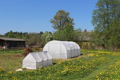 Greenhouses for growing vegetables two. Plastic greenhouses for growing vegetables on the farm field Stock Photography