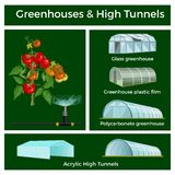 Greenhouses and high tunnels set stock illustration