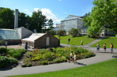 Greenhouses at the University Botanical Garden in. Greenhouse conservatories in The University Botanical Garden (Norwegian: Botanisk hage) at Tøyen in Oslo Royalty Free Stock Photography