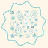 Greenish Blue Ornament on Light Beige Background Stock Photos