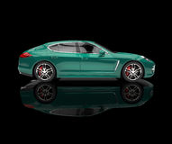 Greenish Car On Black Reflective Background Stock Photo
