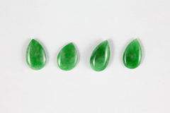 Greenish droplet-shaped Type-A Jade beads