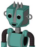 Greenish Mech With Mechanical Head And Happy Mouth And Two Eyes And Three Spiked. Portrait style Greenish Mech With Mechanical Head And Happy Mouth And Two Eyes stock illustration