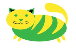 Greenish-yellow thick, tabby cat with short paws and a large snout with ears protruding upwards on a white background. Vector illustration Stock Photos
