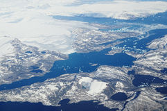 Greenland. Aerial view of Greenland landscape Stock Photos