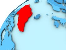 Greenland on blue globe. Greenland in red on blue model of political globe. 3D illustration Stock Photos