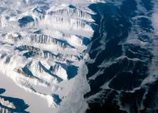 Greenland coastline view. Aerial view of the Greenland coastline stock image