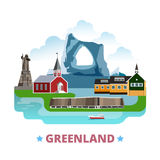 Greenland country design template Flat cartoon sty. Greenland country template. Flat cartoon style historic vector illustration. World vacation travel Stock Photos