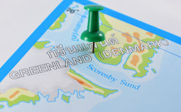 Greenland denmark in map. Macro shot of greenland denmark map with push pin Royalty Free Stock Photo