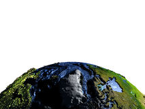 Greenland on Earth with exaggerated mountains. Greenland on model of Earth with exaggerated surface features including ocean floor. 3D illustration. Lot of space Royalty Free Stock Photo