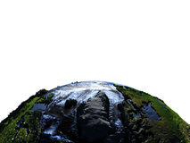 Greenland on Earth at night with exaggerated mountains. Greenland on model of Earth with exaggerated surface features including ocean floor. 3D illustration at Royalty Free Stock Photography