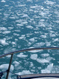 Greenland , Eqi glacier floating ice. Floating ice seen from a boat deck, Greenland west coast in summer Stock Photos