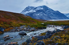 Greenland Fall. Mountain in Fall colors in Greenland Stock Photography