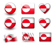The Greenland flag. Set of icons and flags. glossy and matte on a white background Stock Photos