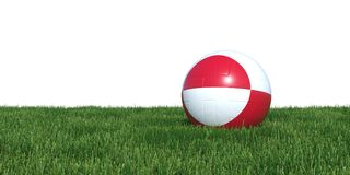 Greenland flag soccer ball lying in grass world cup 2018. Isolated on white background. 3D Rendering, Illustration Royalty Free Stock Image