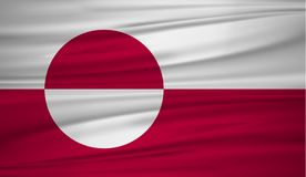 Greenland flag vector. Vector flag of Greenland blowig in the wind. EPS 10 Royalty Free Stock Image