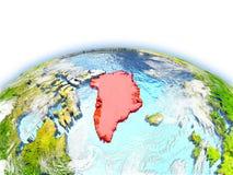 Greenland on globe Royalty Free Stock Photos