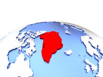 Greenland on globe Royalty Free Stock Photo