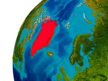 Greenland on globe Royalty Free Stock Image