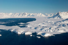 Greenland, ice floe and mountains Royalty Free Stock Photography