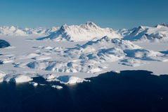 Greenland, ice floe and mountains. Landscape of ice floe and mountains, Greenland stock image