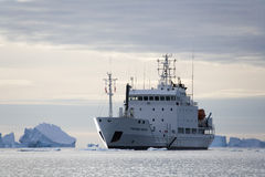 Greenland - Icebreaker in Scoresbysund. The Russian Icebreaker MV Grigoriy Mikheev in Scoresbysund in eastern Greenland Royalty Free Stock Photos
