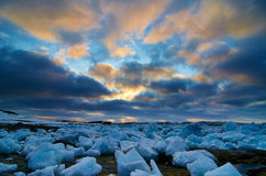 Greenland icecubes. Stranded icecubes in the fjord near Nuuk Royalty Free Stock Image