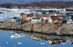 Greenland Ilulissat. The small town of Ilulissat in western Greenland royalty free stock images