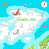 Greenland Mainland Cartoon Map with Fauna Species Royalty Free Stock Images