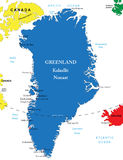 Greenland map. Highly detailed vector map of Greenland with administrative regions, main cities Royalty Free Stock Photos