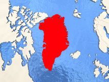 Greenland on map Stock Photos
