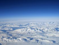Greenland mountains. Aerial view of mountains in greenland Royalty Free Stock Photo