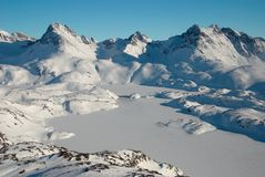 Greenland, moutains and ice floe. Ice floe with mountains in background, Greenland stock image