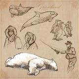 Greenland: Podróż dookoła świata Wektorowi rysunki Zdjęcie Stock