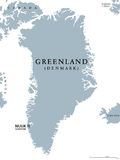 Greenland political map. With capital Nuuk and neighbor countries. Autonomous country and part of Kingdom of Denmark in North Atlantic. Gray illustration Stock Photo